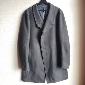 AllSaints Men's Wool Coat Olive Double Breasted 42